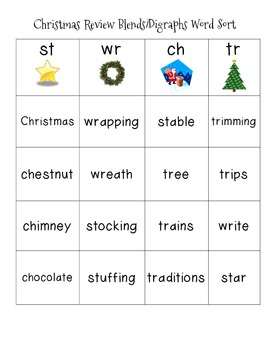 Christmas Review Blends/Digraphs Word Sort FREE
