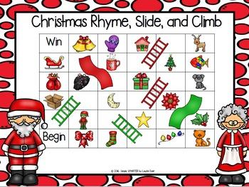 Christmas Rhyme, Slide, and Climb:  NO PREP Christmas Rhyming Game