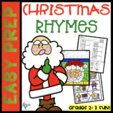 Christmas Rhymes Worksheets/ Literacy Center Puzzles/ Game