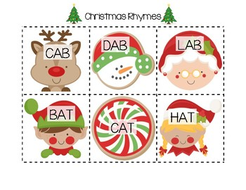 Christmas Rhyming Cards (CVC-Short Vowel)
