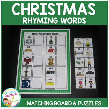 Christmas Rhyming Words Board + Puzzles