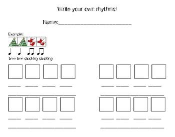 Christmas Rhythm Manipulatives and Flashcards