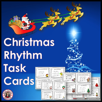 Christmas Rhythm Task Cards with 16th Notes
