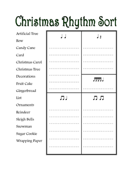Christmas Rhythm Word Sort
