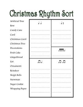 Christmas Rhythm Word Sort