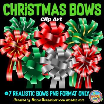 Christmas Ribbons (Bows) Clip Art for Teachers
