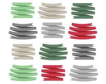 Christmas Ribbons, Digital Clipart, Christmas Ribbon Set #100