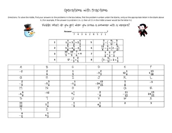 Christmas Riddle - Operations with Fractions