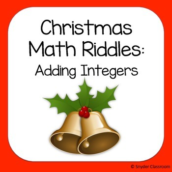 Christmas Adding Integers Math Riddles