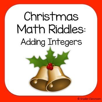 Christmas Adding Integers Math Riddles
