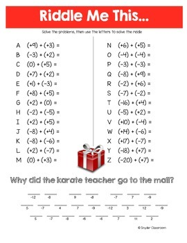 Christmas Adding and Subtracting Integers Math RIddles