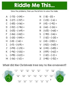 Christmas Riddles.Christmas Adding And Subtracting Integers Math Riddles
