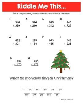 Christmas Math Riddles: Elementary Bundle