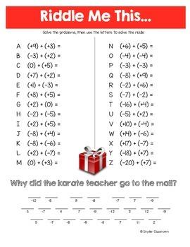 Christmas Integers Math Riddle Bundle