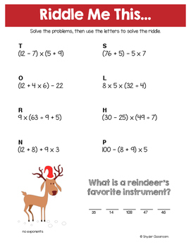 Christmas Math Riddles: Middle School Bundle