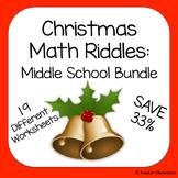 Christmas Math Riddles: Middle School Bundle