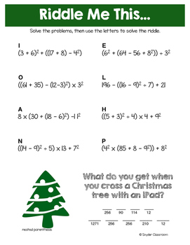 Order of Operations Christmas Math Riddles