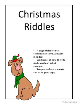 Christmas Riddles.Christmas Riddles Writing Activity