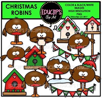 Christmas Robins Clip Art Bundle {Educlips Clipart}