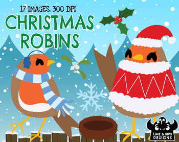 Christmas Robins Clipart | Instant Download Vector Art | Commercial Use Clip Art