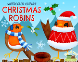 Christmas Robins Watercolor Clipart   Instant Download Vector Art