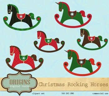 Christmas Rocking Horses Vector Clipart