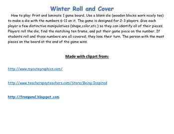 Winter Roll & Cover #6 - 11  Ten Frame Edition