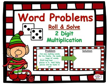 Christmas Roll & Solve- 2 Digit Multiplication