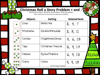 Christmas Roll a Story Problem Addition and Subtraction