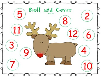 Christmas Roll and Cover {A number recognition and addition activity}