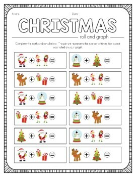 Christmas Roll and Graph Activity and Data Sheets