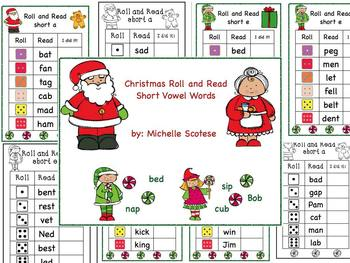 Christmas Roll and Read Short Vowel Words