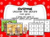 Christmas Roll and Uncover Math Game: Addition and Subtraction Practice