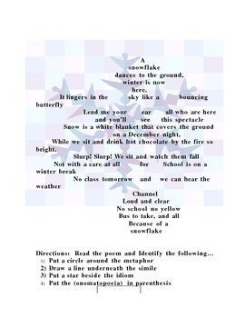 Christmas SNOWFLAKE POEM with Figurative Language and poetic devices
