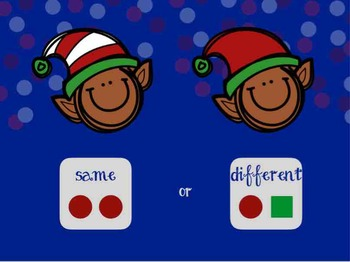 NO PRINT Christmas themed Same or Different Book and worksheets