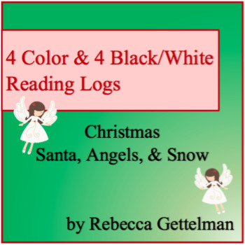 Christmas Santa, Angels, and Snowflakes Logs for Independent Reading--Color & BW