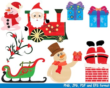 Christmas Santa Claus Clipart snowman school train toy reindeer holiday tree 142