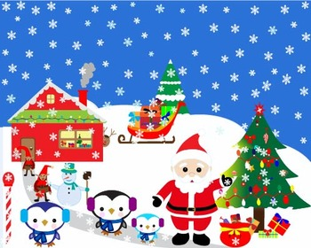 Christmas, Santa Claus Set Clipart ,Santa, penguin, snowman, school -06-