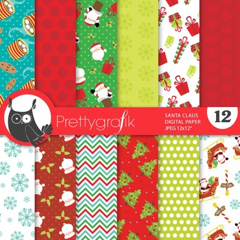 Christmas Santa Claus digital paper, commercial use, scrapbook papers - PS663
