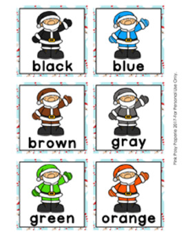 Christmas Santa Color Match Clip Cards and Memory Game