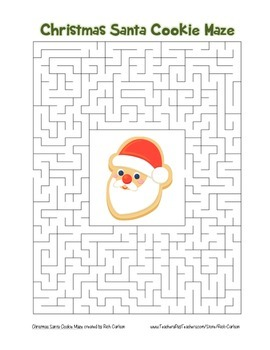"""Christmas Santa Cookie"" Maze! Holiday FUN! (Color and Black Line)"