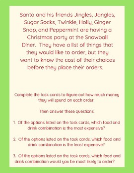 Christmas Santa Differentiated Money Addition Activity with Task Cards