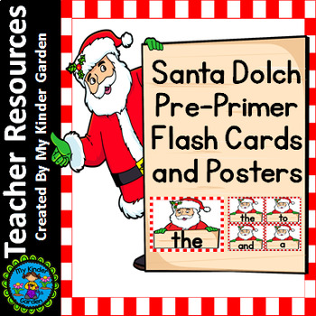 Christmas Santa Dolch Pre-Primer Sight Word Flashcards and Posters