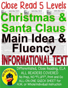 Christmas & Santa FACTS Close Read 5 levels 2 informational texts 12pgs