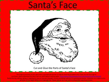 Christmas Santa Face Words Cut and Paste