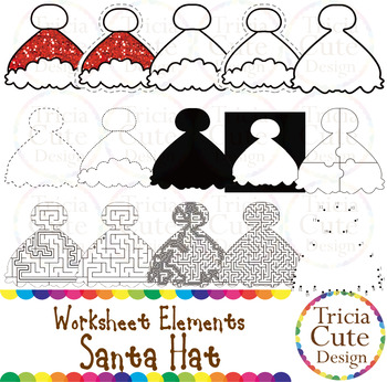 Maze Clipart Santa Hat Worksheet Elements for Tracing Cutting Puzzle Maze