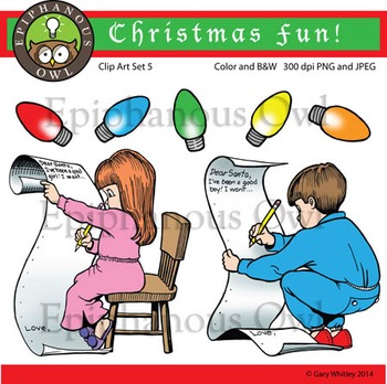 Christmas Santa List Clip Art Set 5
