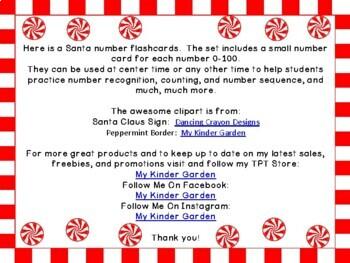 Christmas Santa Number Flashcards 0-100