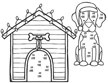 Christmas Santa Paws Double Digit Addition No Regrouping Math CRAFT