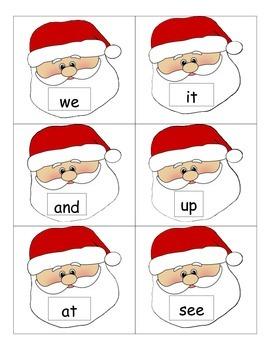 Christmas Santa Sight Words Common Core